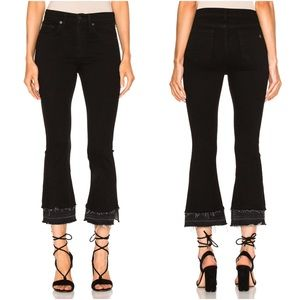Rag & Bone Crop Flare - Coal Double Hem High Waist